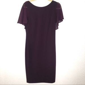 Calvin Klein Purple Flutter Sleeve Dress size 10